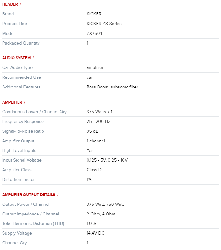 Kicker Zx 750.1desc1