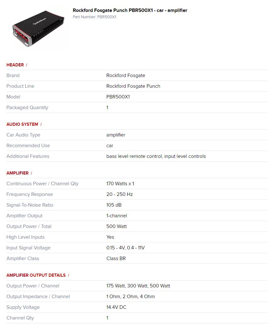 Rockford Fosgate Punch Pbr500x1 Desc