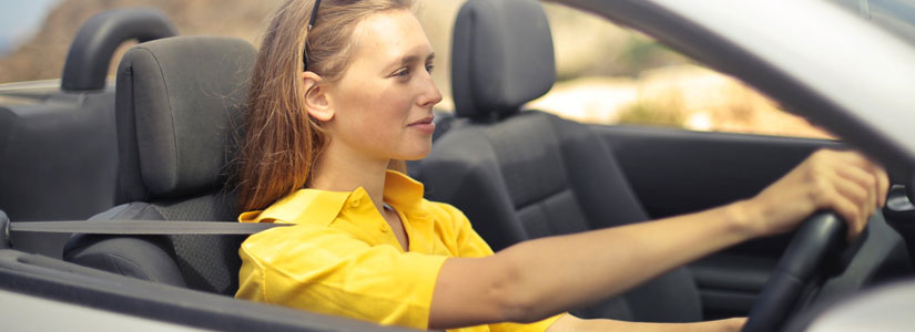 Woman Yellow Dress Driving
